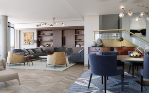 Picture interior, living room, dining room, Roche Bobois