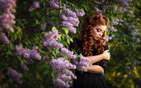 Picture girl, pose, spring, makeup, dress, red, curls, lilac, Andrew Stankūnas
