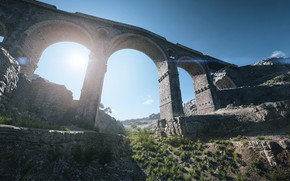 Picture grass, the sun, bridge, channel, Battlefield V