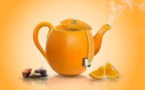 Wallpaper tea, candy, orange