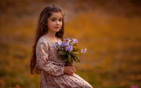 Picture look, flowers, pose, girl, bokeh