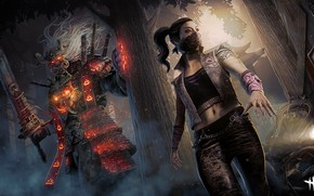 Picture girl, sword, armor, mask, giant, samurai, Dead by Daylight