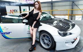 Picture look, Girls, Subaru, Asian, beautiful girl, white car, posing on the car