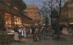 Picture Eugene Galien Laloue, Cafe of the Peace, Paris Print