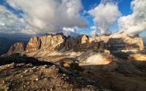 Picture the sky, clouds, light, mountains, blue, stones, rocks, tops, height, shadows, haze, relief, cloudy, mountain …