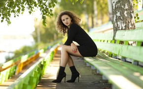 Picture leaves, girl, pose, tree, brown hair, birch, curls, bench, manicure, Yuri Yegorov