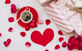 Picture love, flowers, gift, heart, roses, petals, red, red, love, heart, flowers, romantic, coffee cup, gift, …