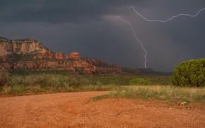 Wallpaper rocks, lightning, valley, AZ, Arizona, Sedona, Sedona