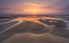 Picture sea, coast, sunset