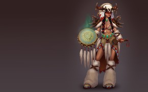 Picture art, shaman, tambourine, SMIRNOV SCHOOL, Evgenia Savitskaia, Girl shaman healer