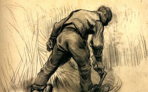 Picture man, hammer, Vincent van Gogh, Reaper 2