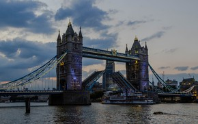 Picture the sky, clouds, bridge, river, England, London, home, the evening, Thames, Tower bridge, ship