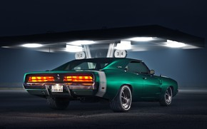 Picture Auto, Night, Station, Retro, Machine, Dodge, Charger, Gas stations, Muscle, 46-49, by Damian Bilinski, Damian …