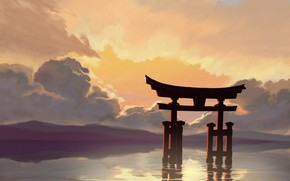Picture the sky, water, torii