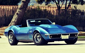 Picture Corvette, Chevrolet, Blue, Convertible, Stingray
