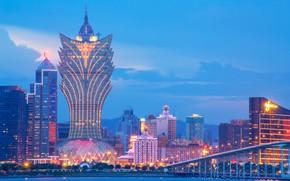 Picture bridge, Strait, China, building, home, China, night city, skyscraper, Macau, Macau, Grand Lisboa Hotel