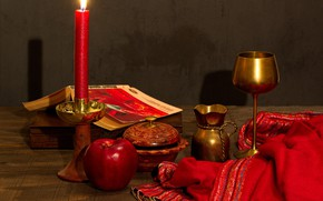 Picture red, glass, Apple, candle, fabric, book