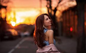 Picture girl, sunset, pose, street, hair, shoulder, bokeh, Vitaly Skitaev, Kitaev Vitaly