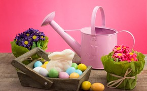 Picture flowers, background, holiday, eggs, Easter
