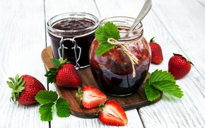 Picture berries, strawberry, jars, dessert, wood, jam, cutting Board