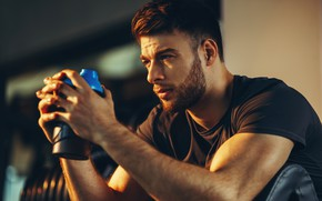 Picture look, face, hairstyle, profile, male, muscle, Sport, the gym, training, looking