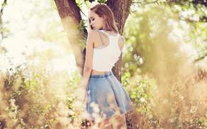 Picture girl, long hair, legs, nature, photo, photographer, model, bokeh, lips, face, blonde, body, back, hips, …