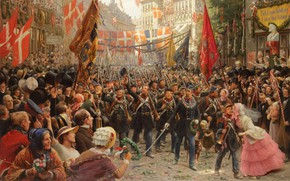 Picture Danish painter, 1894, Danish painter, oil on canvas, Otto Bache, Otto Bach, Soldiers return to …