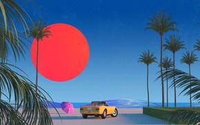 Picture The sun, Auto, Music, Machine, Style, Palm trees, 80s, Style, Illustration, 80's, Synth, Retrowave, Synthwave, …