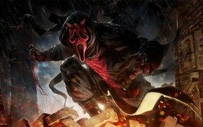 Picture the demon, mask, knife, Creek, Dead by Daylight