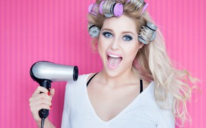 Picture look, girl, pose, background, pink, makeup, hairstyle, blonde, beauty, in white, keeps, delight, curler, Hairdryer