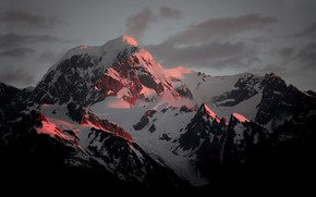 Picture the sky, clouds, snow, sunset, mountains, nature, rocks, the evening
