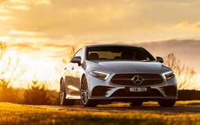Picture sunset, Mercedes-Benz, CLS, sedan, front view, 2018, 450, 4MATIC, AMG Line