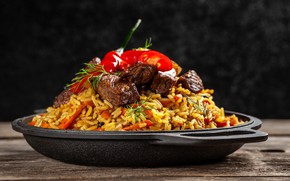 Picture meat, figure, tomato, rosemary, pilaf