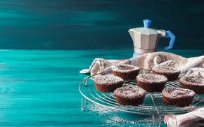Picture cupcakes, powdered sugar, chocolate, muffins