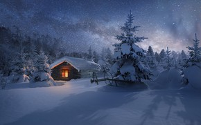 Picture winter, forest, stars, light, snow, night, house, view, hut, tale, ate, slope, window, The milky …