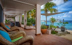 Picture beach, palm trees, Villa, yachts, terrace, on the ocean, Kralendijk, Карибская Голландия, Бонайра, Villa Ganshi, …