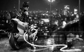 Picture Girl, Bike, Motorcycle, Fantasy, Art, Bike, Moto, Characters, Whip, Cyber, Science Fiction, Black and white, …