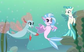 Wallpaper friends, three, magic pony, mlp art, sea ponies three, sea pony, Kuraray pony
