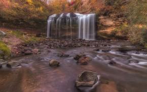 Picture autumn, river, stones, waterfall, Wisconsin, cascade, Wisconsin, Cascade Falls, Osceola Creek, Река Оцеола