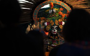Picture girl, carnival, the dark background, day of the dead, Day of the Dead