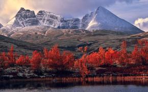 Picture autumn, snow, trees, landscape, mountains, lake, river, rocks, hills, shore, foliage, the slopes, tops, view, …