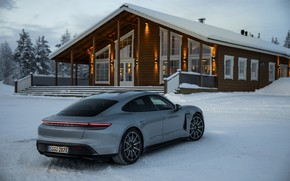 Picture snow, grey, Porsche, Parking, structure, 2020, Taycan, Taycan 4S