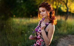 Picture look, the sun, flowers, model, portrait, makeup, dress, hairstyle, brown hair, beauty, nature, posing, bokeh, …