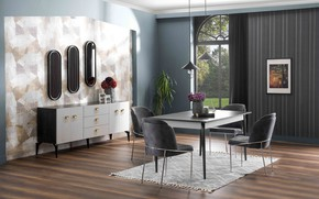 Picture design, style, interior, dining room, dining room, suffering