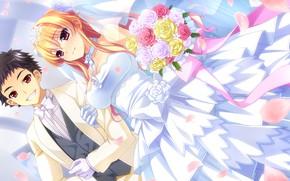 Picture Girl, Guy, wedding, Romance, baka moe heart ni ai wo komete!