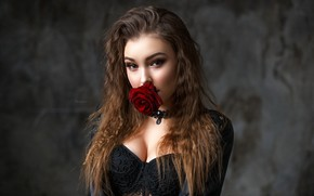 Picture flower, look, background, model, rose, portrait, makeup, hairstyle, brown hair, beauty, red, in black, bokeh, …