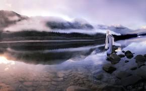 Picture mountains, fog, river, sword, morning, virgin