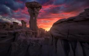 Picture the sky, clouds, light, sunset, clouds, stones, rocks, desert, the evening, America, twilight, blocks