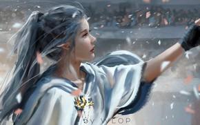 Wallpaper girl, fantasy, long hair, blue eyes, ponytail, people, lips, face, elf, digital art, artwork, princess, ...