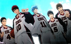 Picture the sky, anime, art, team, guys, Kuroko's Basketball, Kuroko no basket